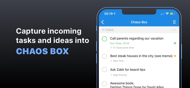 Chaos Control™: GTD To-Do List Screenshot