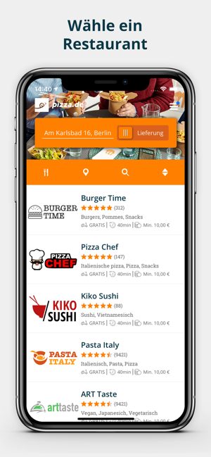 pizza.de - Essen bestellen Screenshot