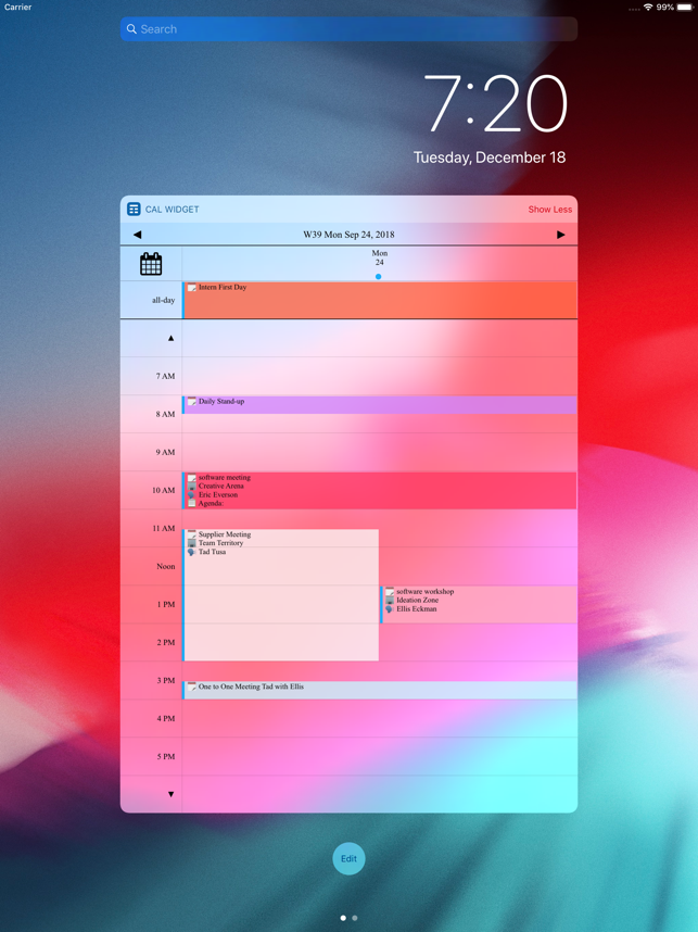 ‎Week Calendar Widget Pro Screenshot