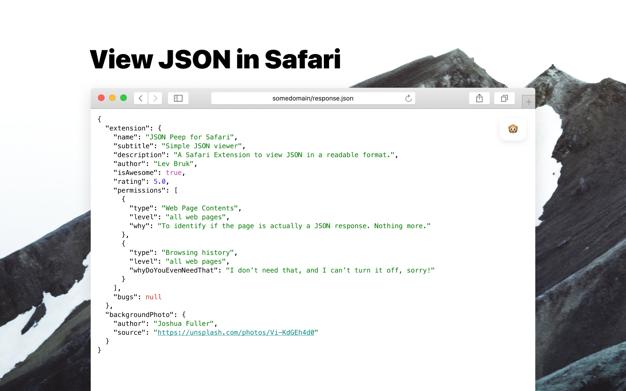 JSON Peep for Safari app screenshot