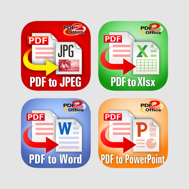 PDF2Office - PDF to JPEG, Word, Excel and PowerPoint PDF converter pack
