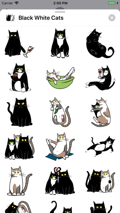 Black White Cats Sticker Pack