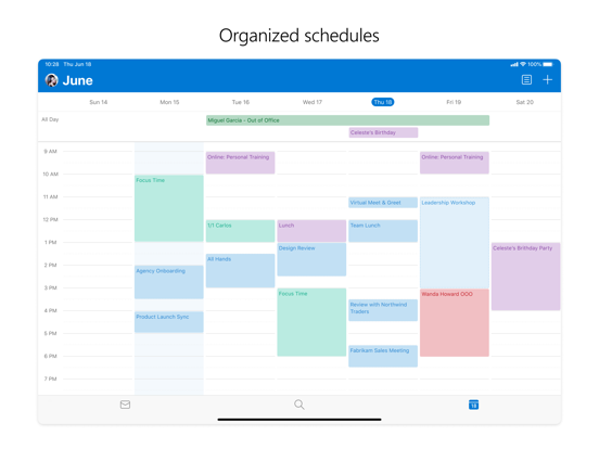 iPad Image of Microsoft Outlook