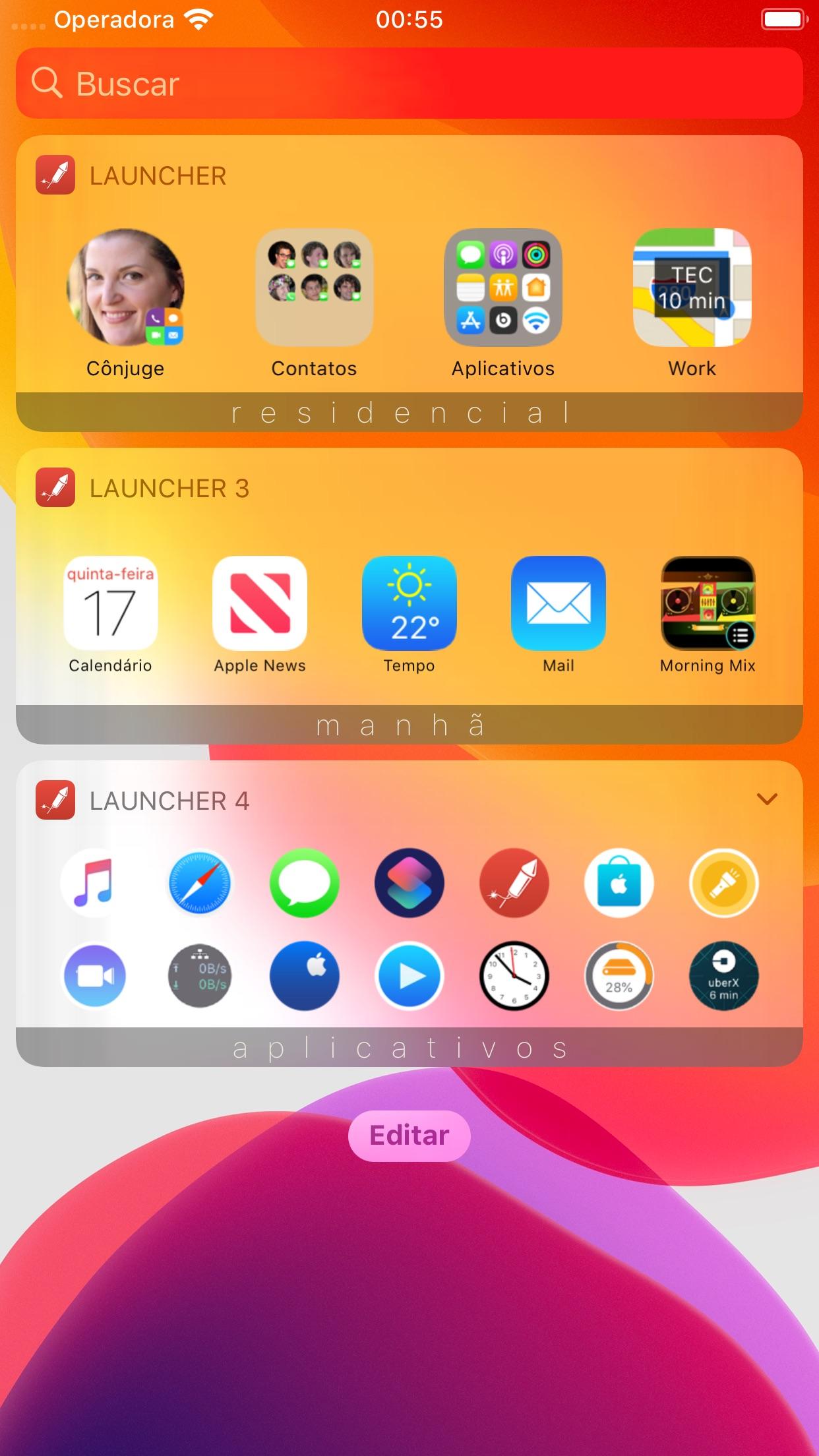 Screenshot do app Atalho com vários widgets