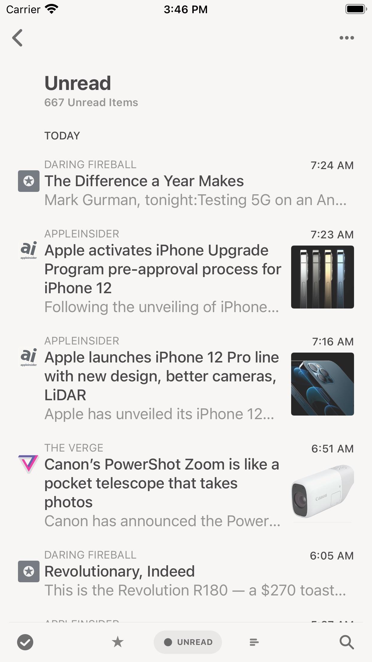 Screenshot do app Reeder 5