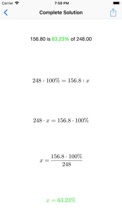 Percentage Solver Screenshots