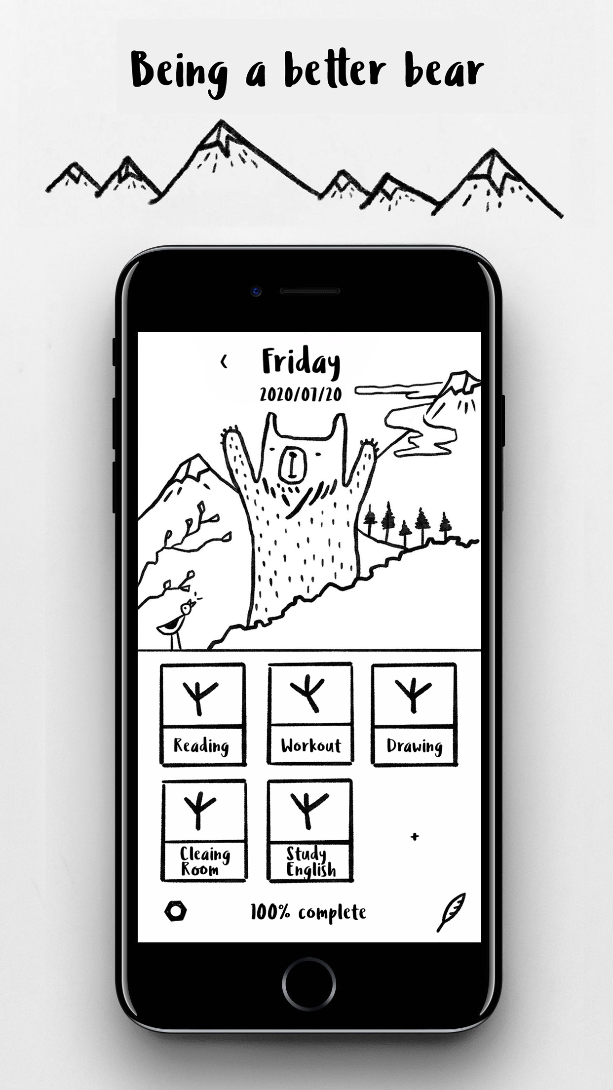 Screenshot do app BGH - Bear's Good Habits