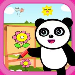 Panda drawing and coloring