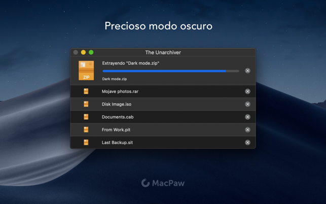 Capturas de pantalla de RAR for Mac OS X