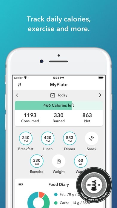 MyPlate Calorie Counterのおすすめ画像1