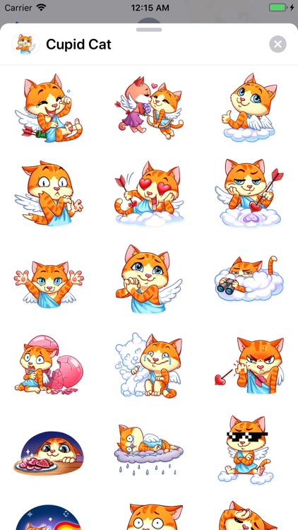 Cupid Cat Love Stickers