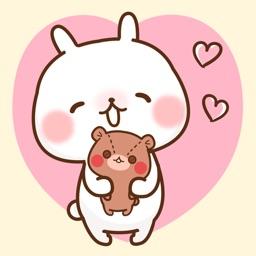 Sticker of a small rabbit love