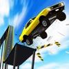 坂を使ってカージャンプ - iPadアプリ