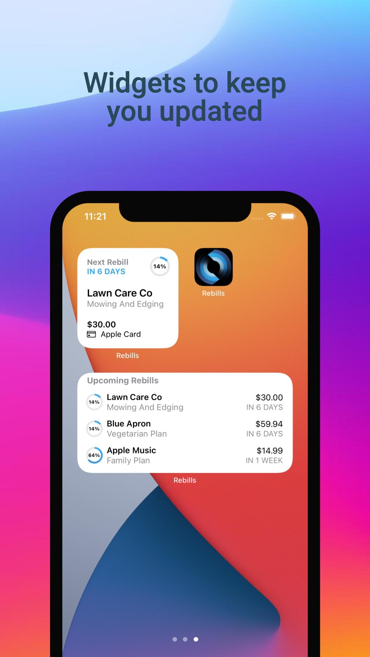 Screenshot do app Rebills