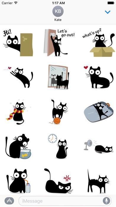 Cute & Weird Black Cat Sticker screenshot 1