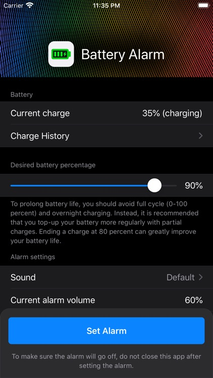 Battery Charge Alarm