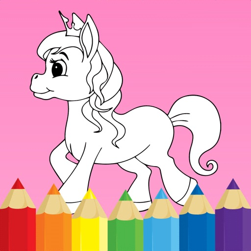 Coloring book Unicorn & Horses