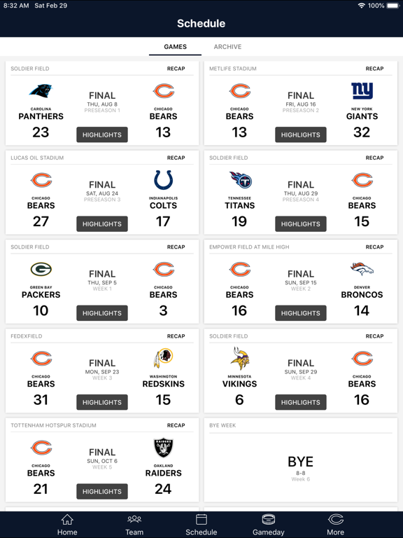 Chicago Bears Official App screenshot