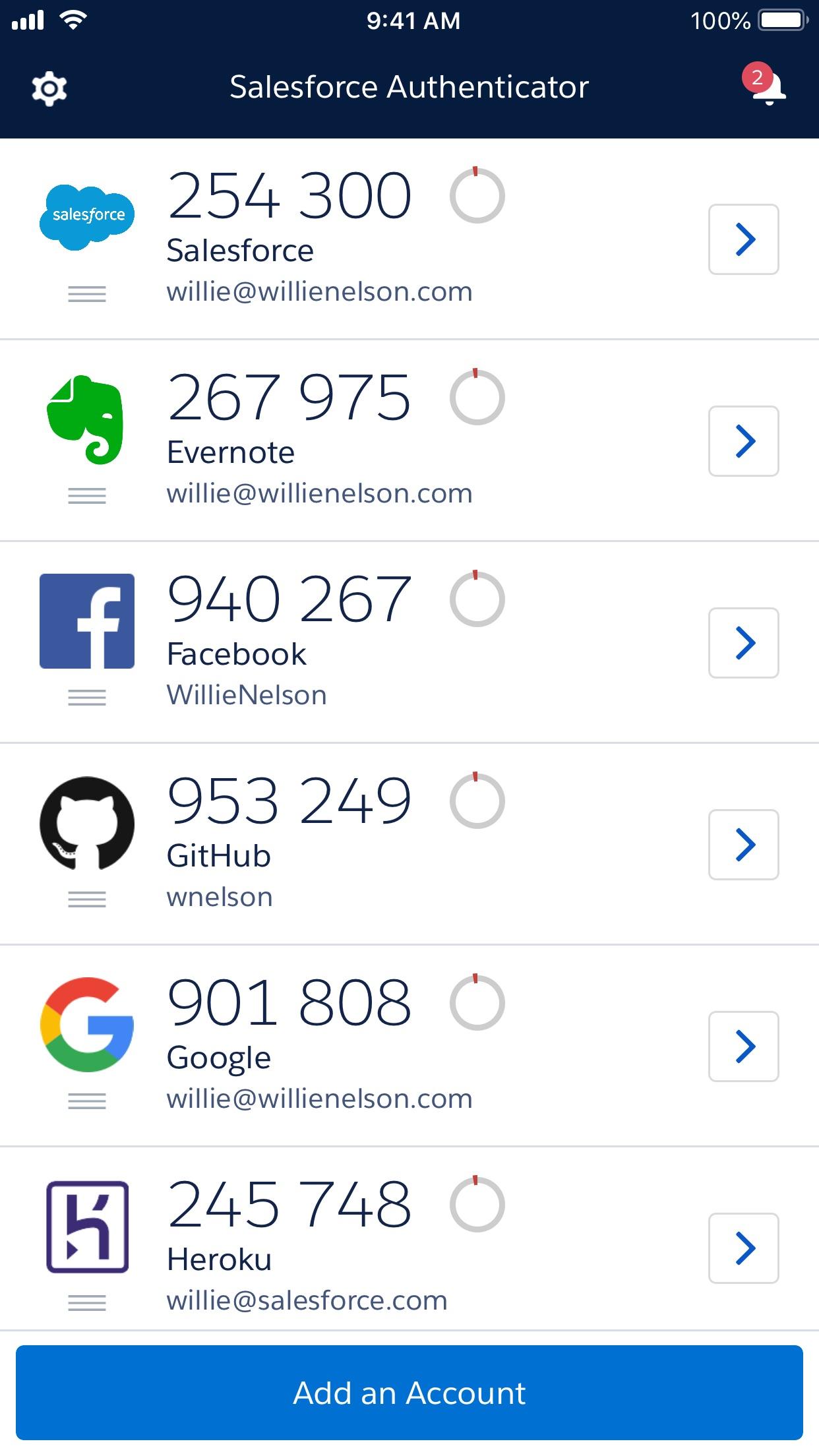 Salesforce Authenticator Screenshot