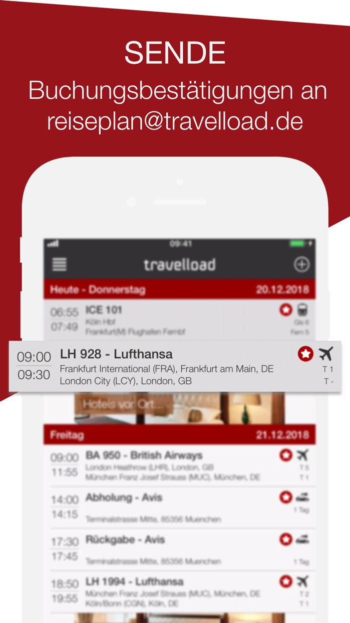 travelload digitaler Reiseplan Screenshot