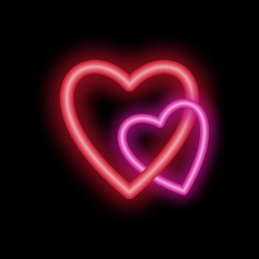 Hearts Plus Animated Neon