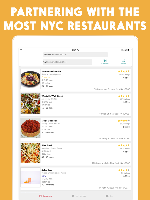 Seamless - Free Food Delivery & Takeout Service screenshot