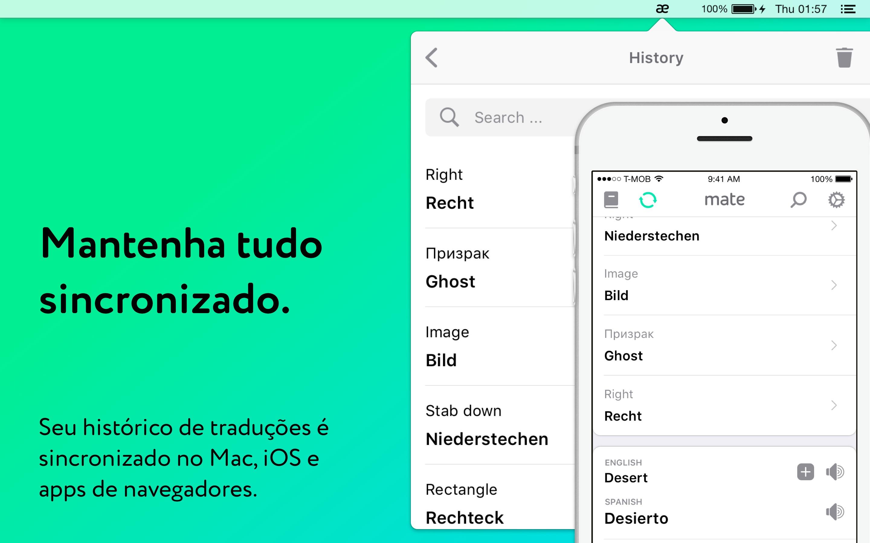 Screenshot do app Tradutor por Mate