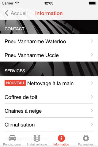 Screenshot of Pneu Vanhamme