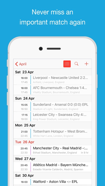 Fixtures for iPhone Calendar screenshot-3