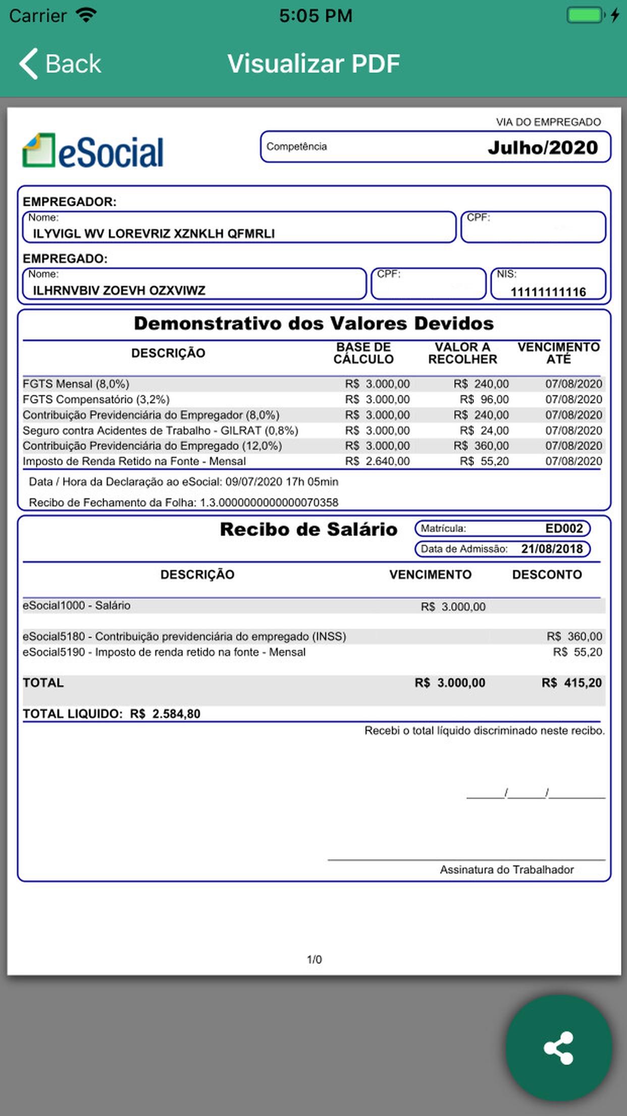 Screenshot do app eSocial Doméstico