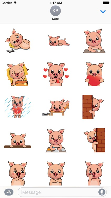 A Lazy Pig Animated Stickers