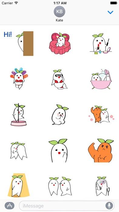 Animated Charming Radish Emoji Screenshot