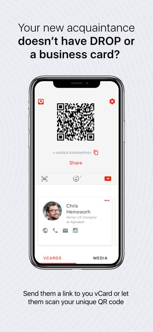 Drop business cards contacts on the app store reheart