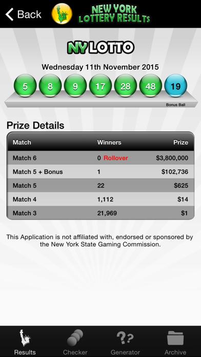 NY Lotto Results screenshot three