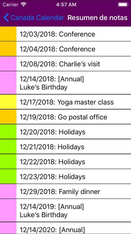 2019 Canada Calendar screenshot-5