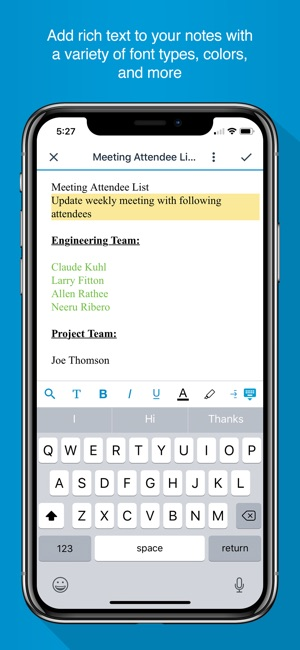 BlackBerry Notes Screenshot