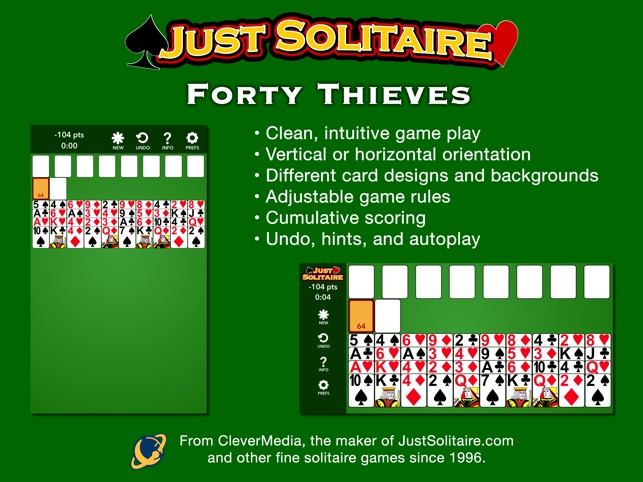Forty thieves card game