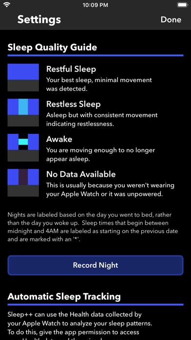 Sleep++ iphone captures décran