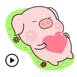 Animated Cute Pink Pig Sticker