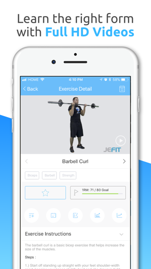 JEFIT Workout Planner Gym Log Screenshot
