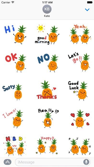 Cute Pineapple Emoji Sticker screenshot 1