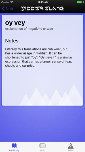 Yiddish Slang Dictionary and Quiz on the App Store