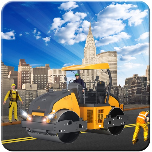 Road Roller and City Builder with Excavator