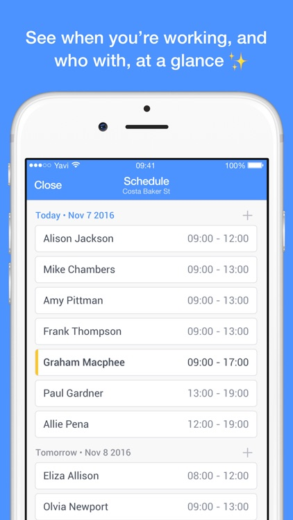 Yavi - Work Schedule with Chat