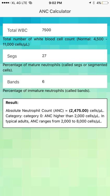 ANC Calculator - Absolute Neutrophil Count