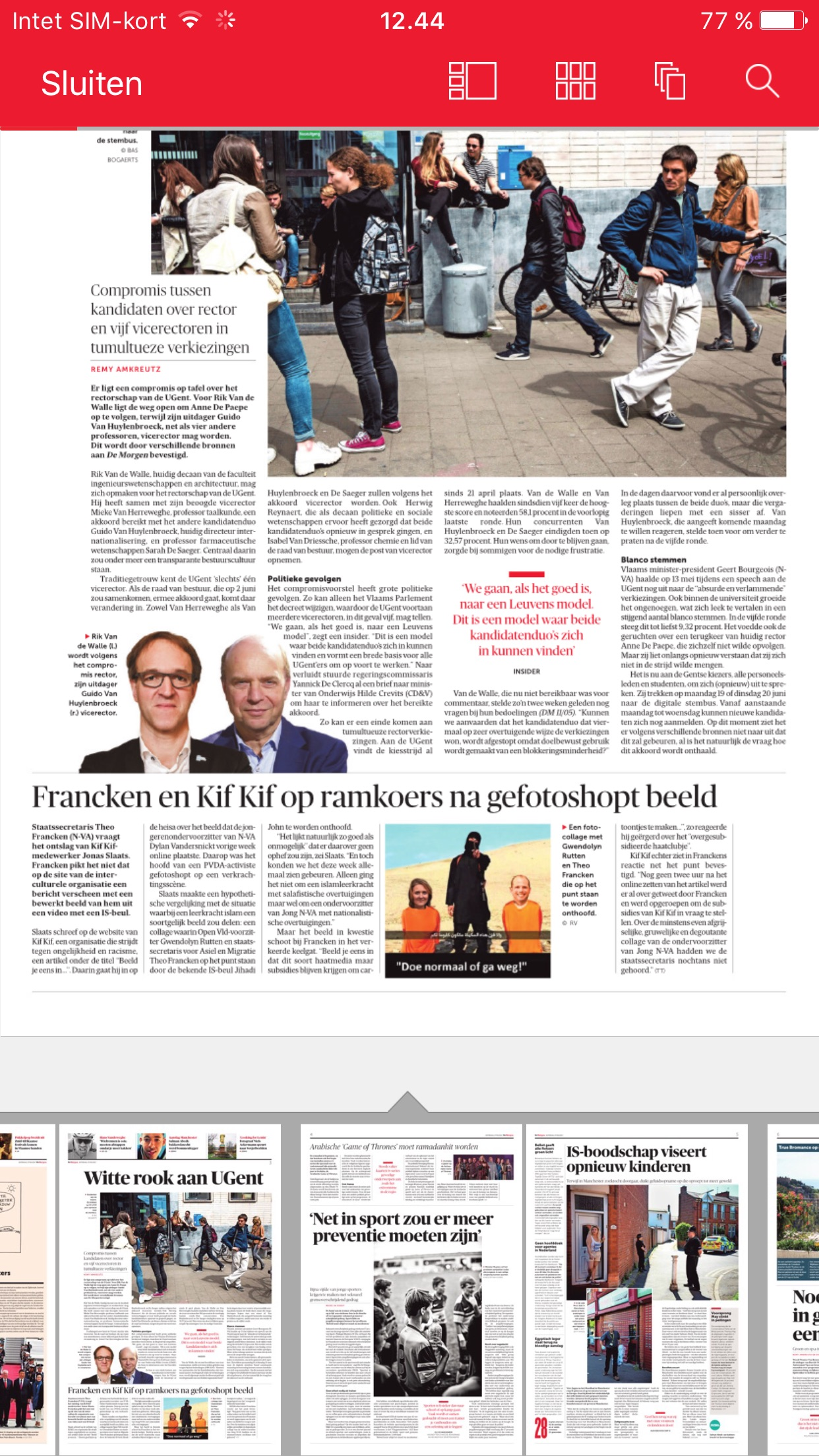 De Morgen digitale krant Screenshot