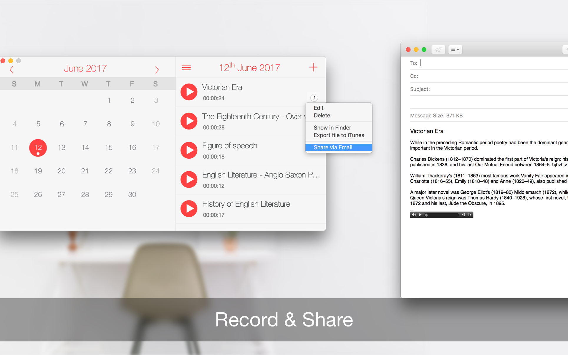 Record Lectures on the MacAppStore