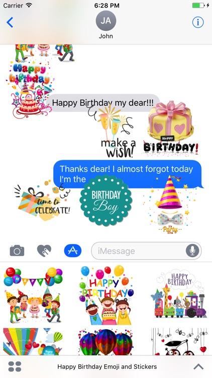 Happy Birthday Emoji and Stickers screenshot-3