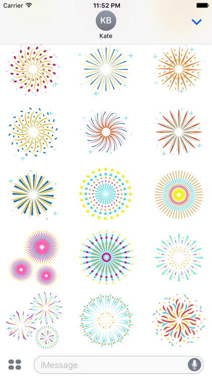 Animated New Fireworks Party for iMessage