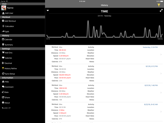Bike Speeds - Track and log your workouts and calculate time, pace, speed and distance screenshot